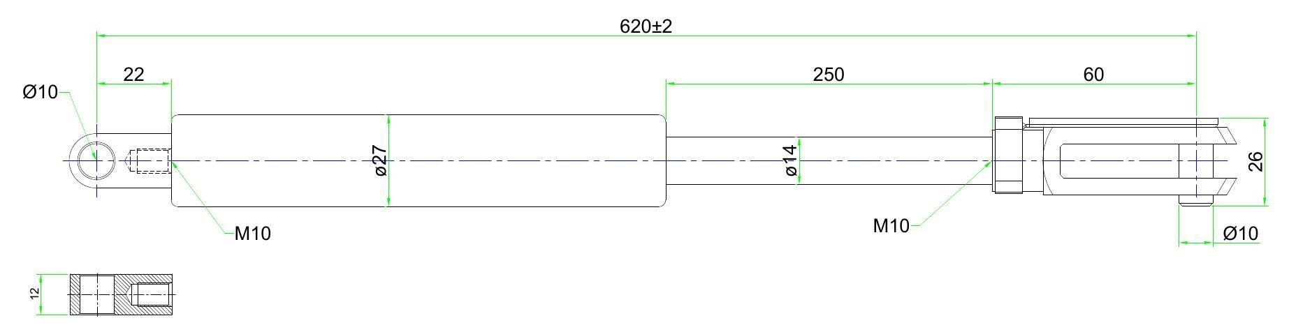 1200N Hub:200 10//23 Gasdruckfeder Anh/änger,Verkaufsanh/änger 1x Gasfeder L:500