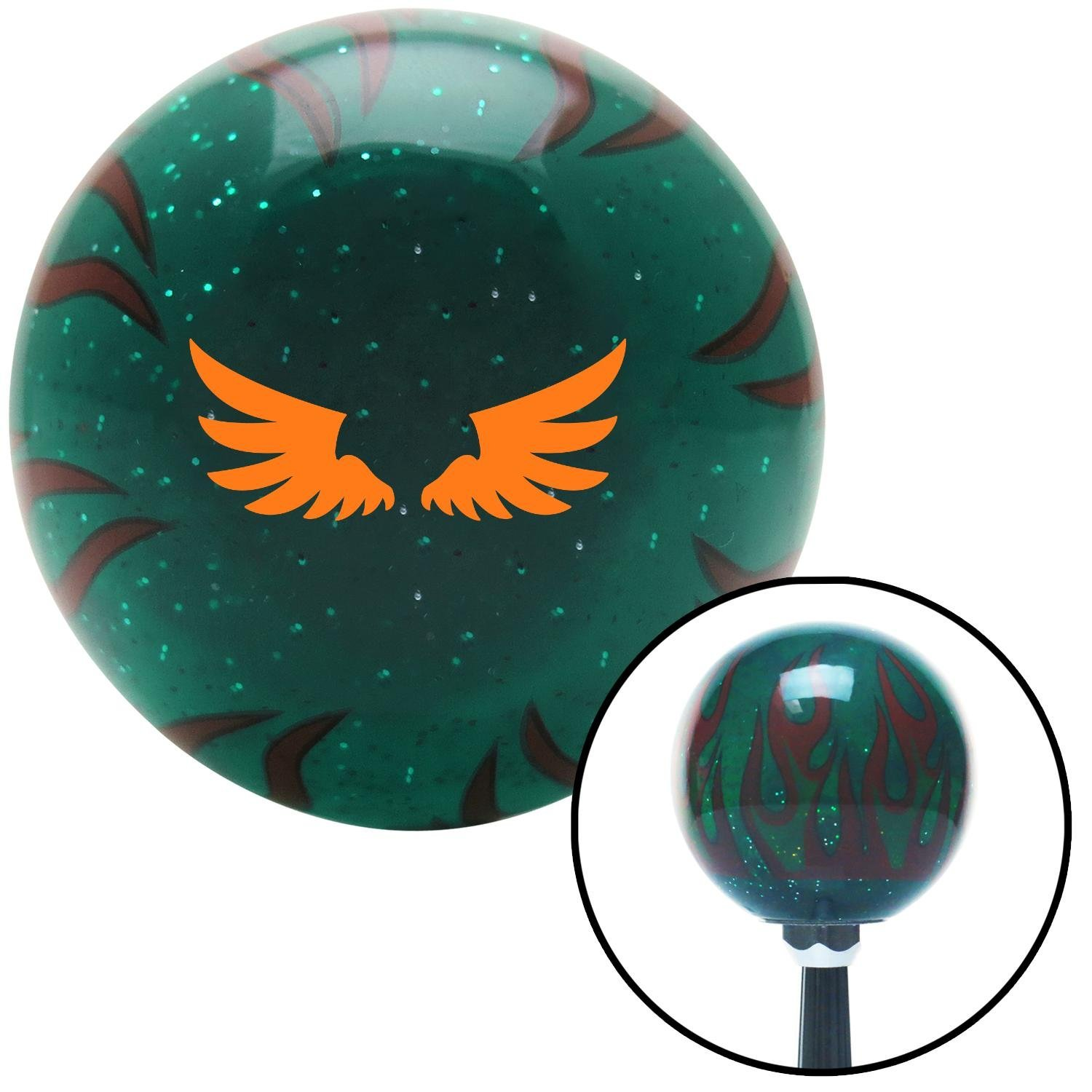 American Shifter 261796 Green Flame Metal Flake Shift Knob with M16x1,5 Insert (Orange Firebird Wingss) von American Shifter
