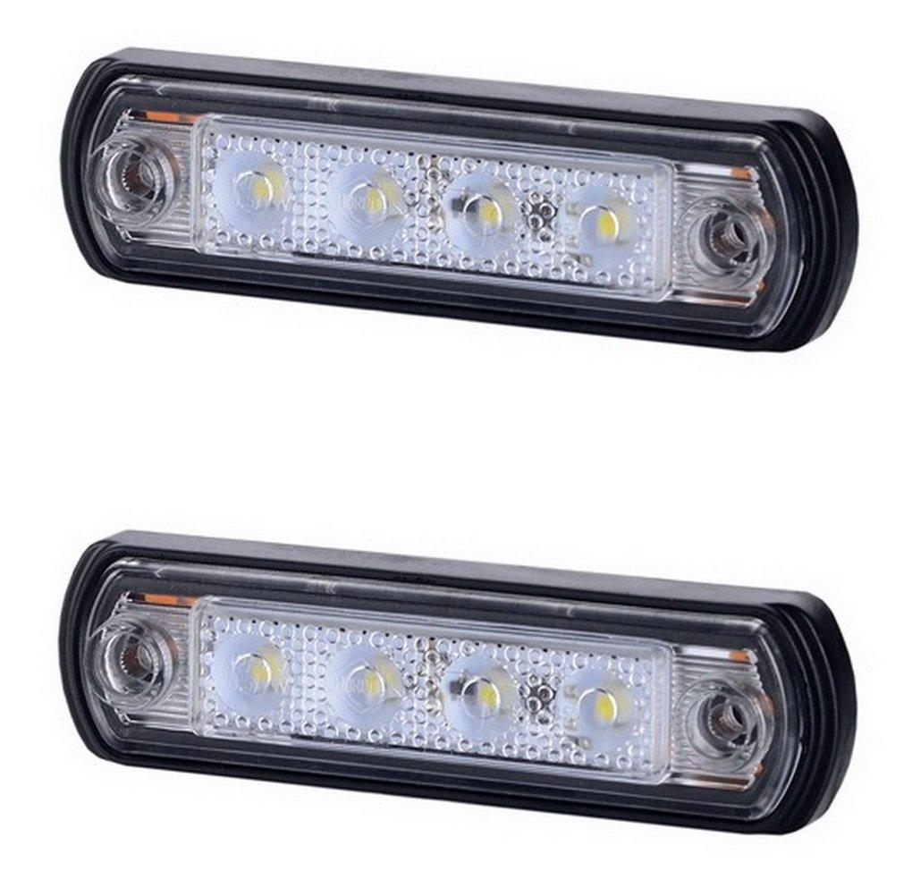 2 x 6 SMD LED Wei/ß Rot Begrenzungsleuchte Seitenleuchte 12V 24V mit E-Pr/üfzeichen Positionsleuchte Auto LKW PKW KFZ Lampe Leuchte Licht Set Universal