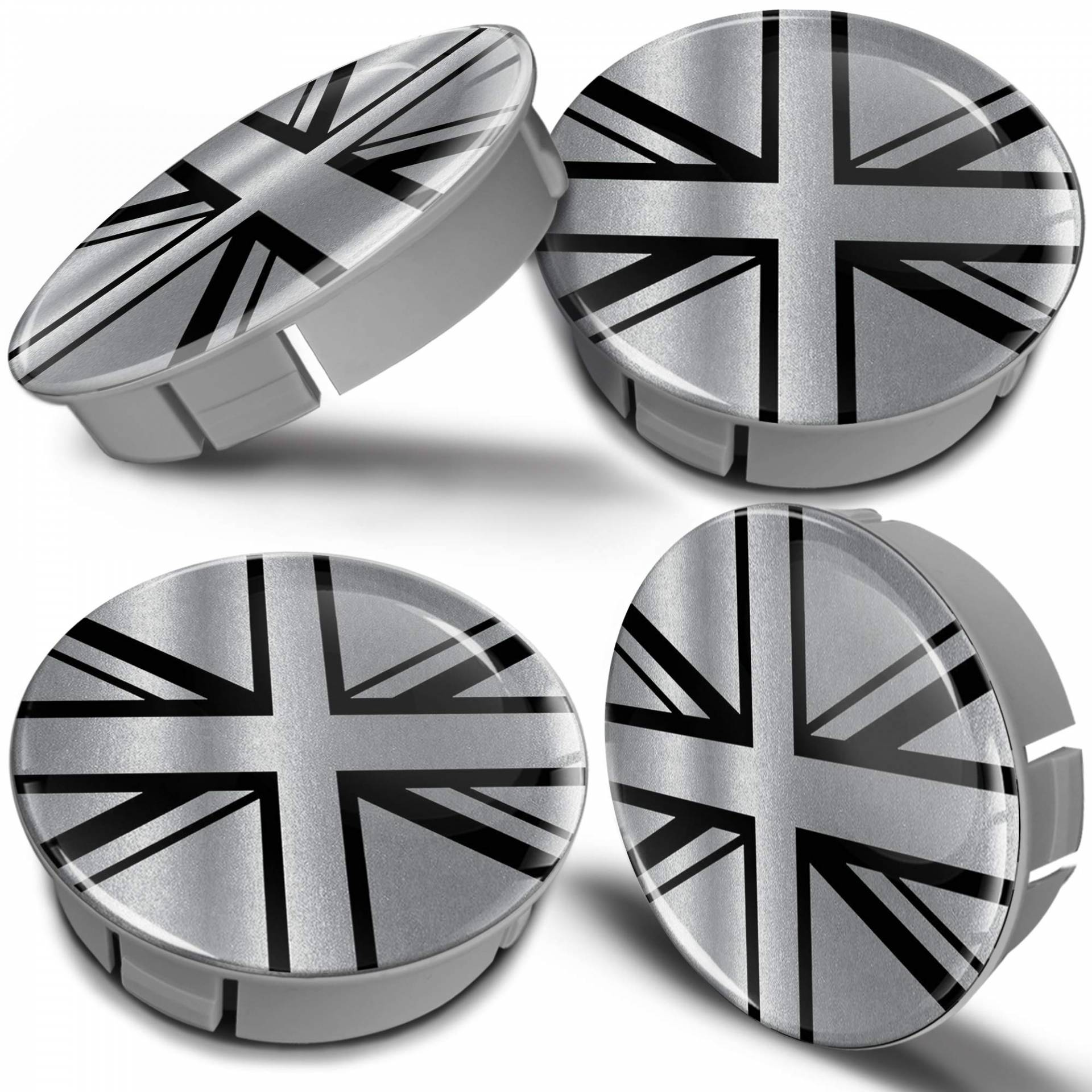 Biomar Labs® 4 x 60mm Kunststoff Nabenkappen Kappen UK Union Jack GB United Kingdom Flagge Fahne Silber Schwarz Felgendeckel Radkappen Radnabendeckel Nabendeckel Auto Tuning CS 19 von Biomar Labs
