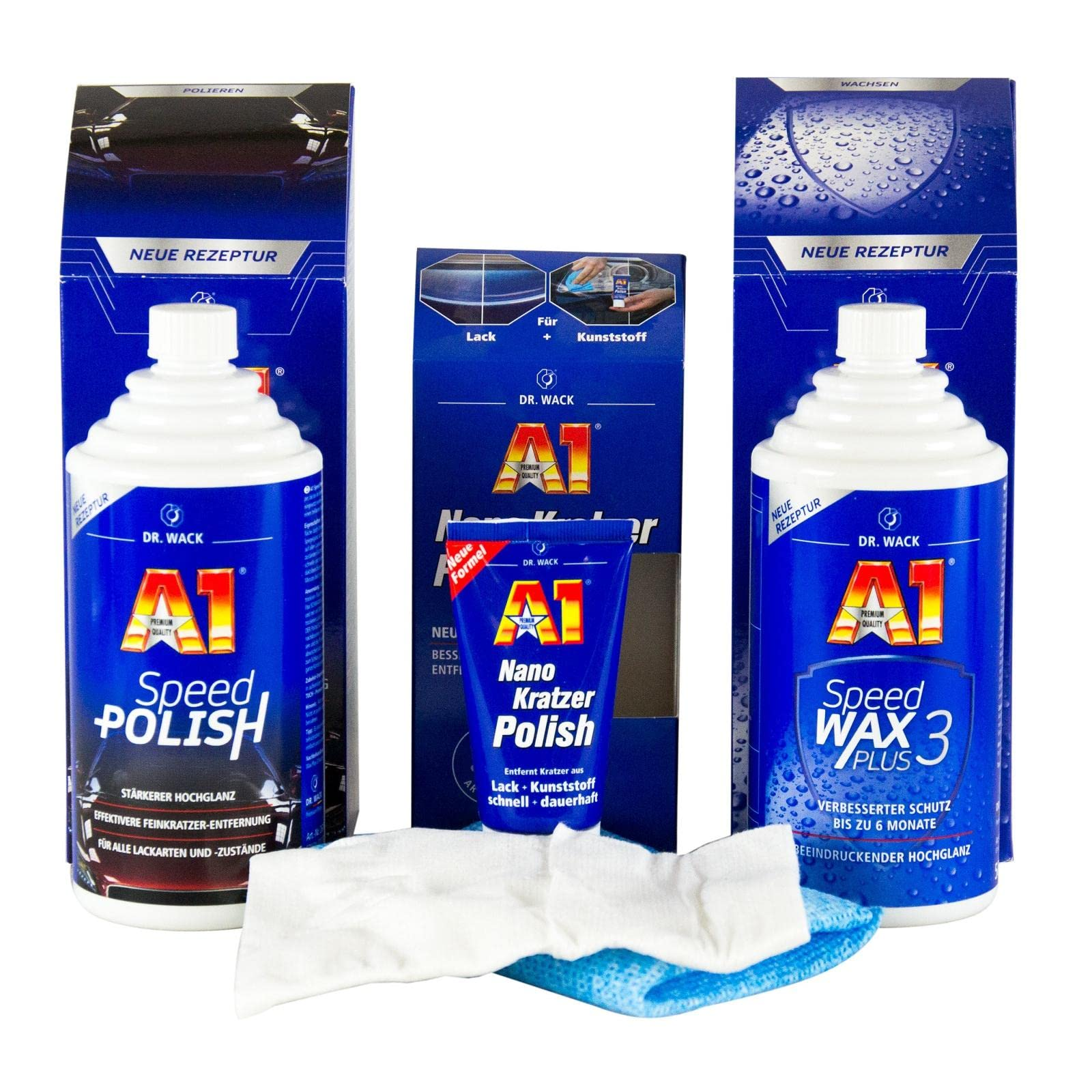 DR. WACK A1 Speed Polish 500 ml & Speed Wax Plus 3 500 ml & Nano Kratzer Polish von Dr. Wack
