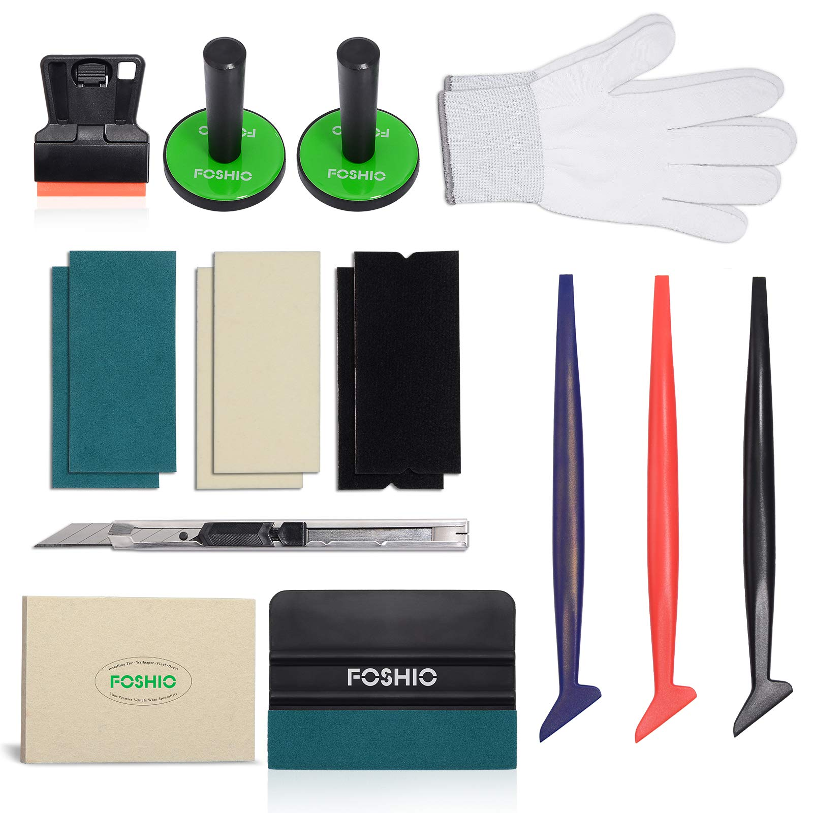 Selbstklebende Filz FOSHIO Profi Komplett Werkzeuge Set zu Fensterfolie Anbringen mit Fensterwischer Schaber und Handschuhe Rakeln