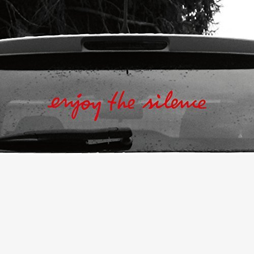 GreenIT Schriftzug Enjoy The Silence Aufkleber Tattoo die Cut car Decal Auto Heck Deko Folie Depeche Mode (rot invers) von GreenIT