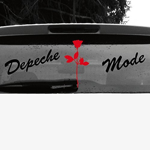 GreenIT Set Schreibschrift Schriftzug und Rose Aufkleber Tattoo die Cut car Decal Auto Heck Deko Folie Depeche Mode (schwarz-rot invers) von GreenIT