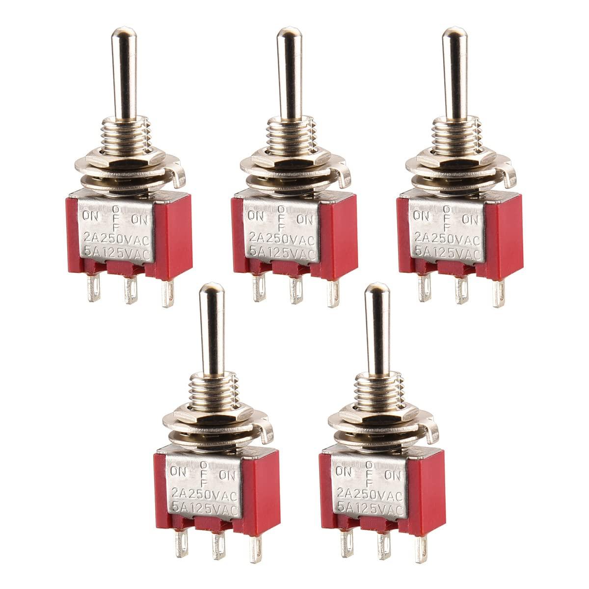 5A 120V UR gelistet 5 St/ück 2A 250V Heschen Miniatur-Kippschalter MTS-101 ON-ON SPDT 2-polig