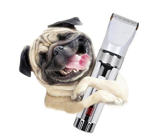 Professionelle Pet Grooming Clipper, Lcd Digital Display Power Low Noise Wiederaufladbare Cord / Cordless Pet Shaver Für Hunde & Katzen, Weiß von HongXJ