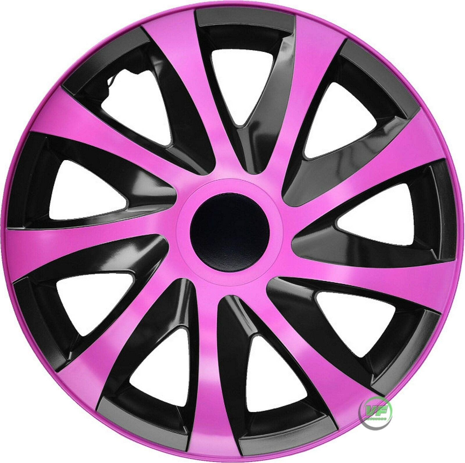 "J&J AUTOMOTIVE WT783 14"" RADKAPPEN RADZIERBLENDEN 4er Set 14 Zoll PINK-SCHWARZ Draco CS von J&J AUTOMOTIVE"