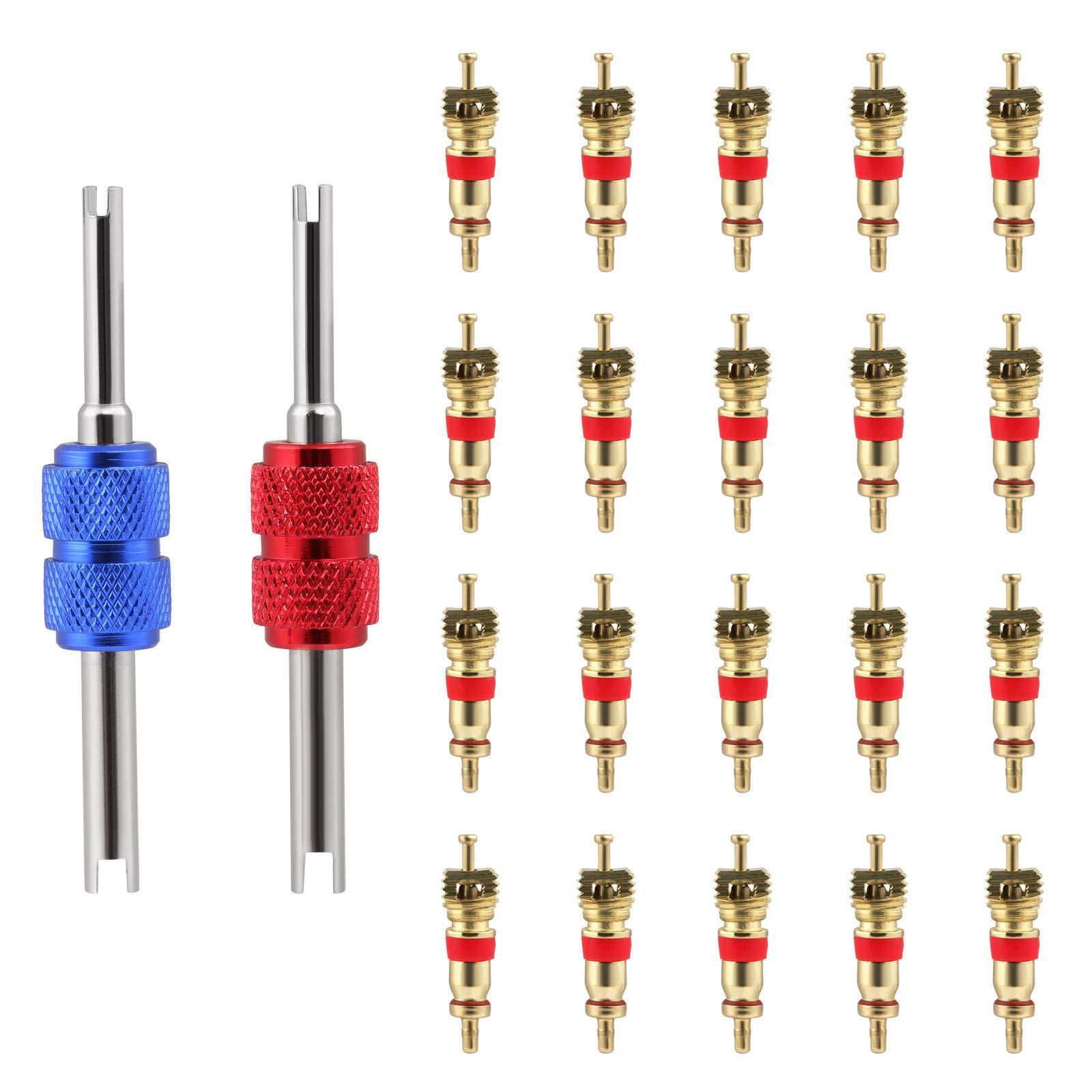 Doppel-Einkopf-Ventil Entferner +6 Ventil Kerne 4-Wege-Ventilwerkzeug 4 In1 Reifenventilentferner Ventil Reifenventil-Reparatur-Werkzeug-Satz