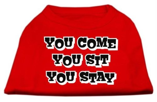 Mirage Pet Products 12 Zoll You Come/Sie sitzen/YOU STAY Bildschirm Print-Shirts für Haustiere, Medium, Rot von Mirage Pet Products