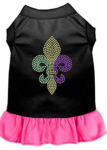 Mirage Pet Products 57–57 mdbpbpk Pink Mardi Gras Fleur de Lis Strass Kleid Schwarz mit heller, mittel von Mirage Pet Products