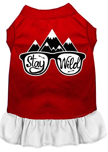 Mirage Pet Products 58–57 rdwtxs Stay Wild Bildschirm Print Hund Kleid, X-Small, Rot mit Weiß von Mirage Pet Products