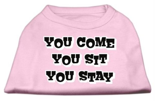 Mirage Pet Products You Come/Sie sitzen/YOU STAY Bildschirm Print-Shirts für Haustiere, X-Small, Light Pink von Mirage Pet Products