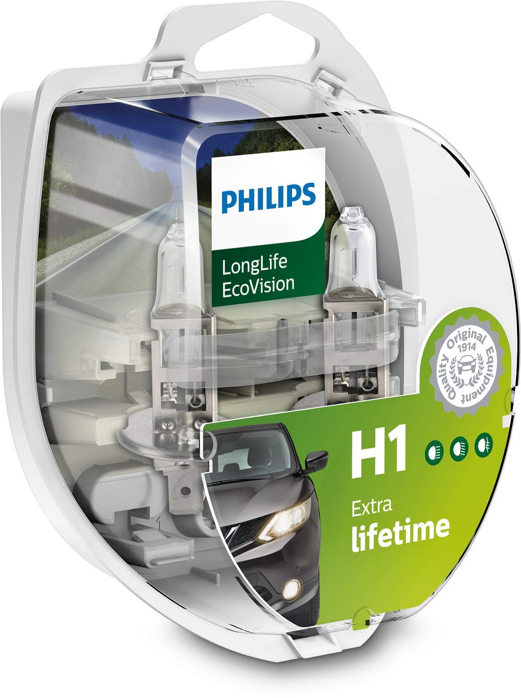 Philips 12258LLECOS2 LongLife EcoVision H1 Scheinwerferlampe, 2-er Kit von Philips automotive lighting