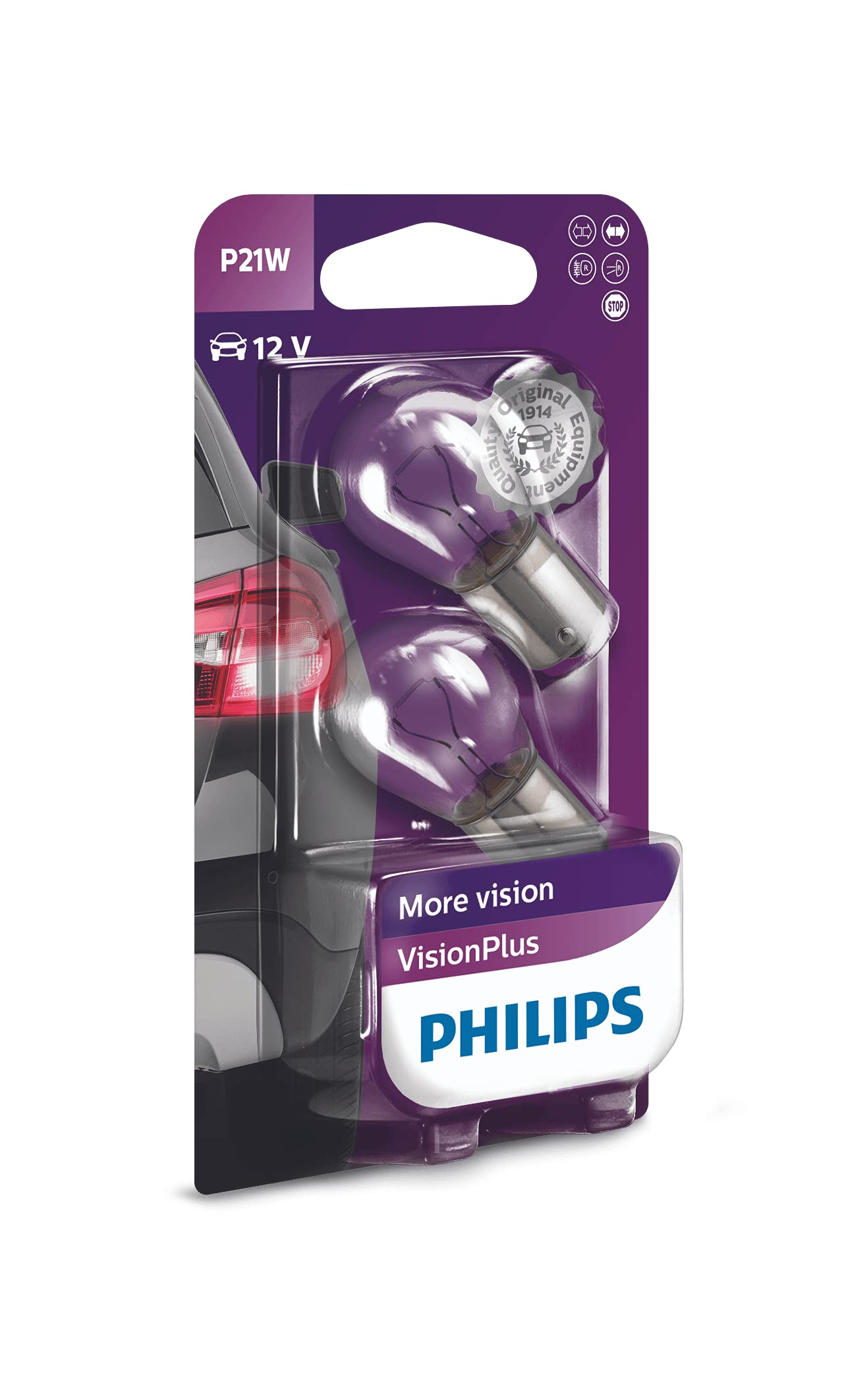 Philips 12498VPB2 VisionPlus P21W Signallampe 12498VPB2, 2er Blister von Philips automotive lighting
