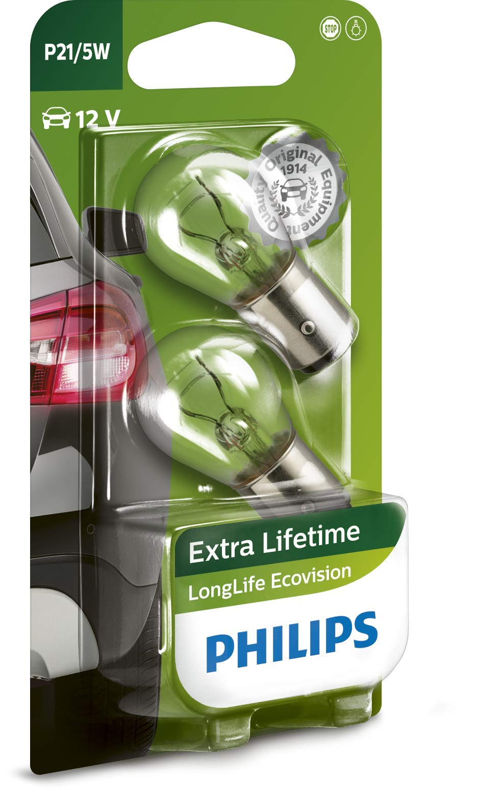 Philips 12499LLECOB2 LongLife EcoVision P21/5W Signallampe 12499LLECOB2, 2er Blister von Philips automotive lighting