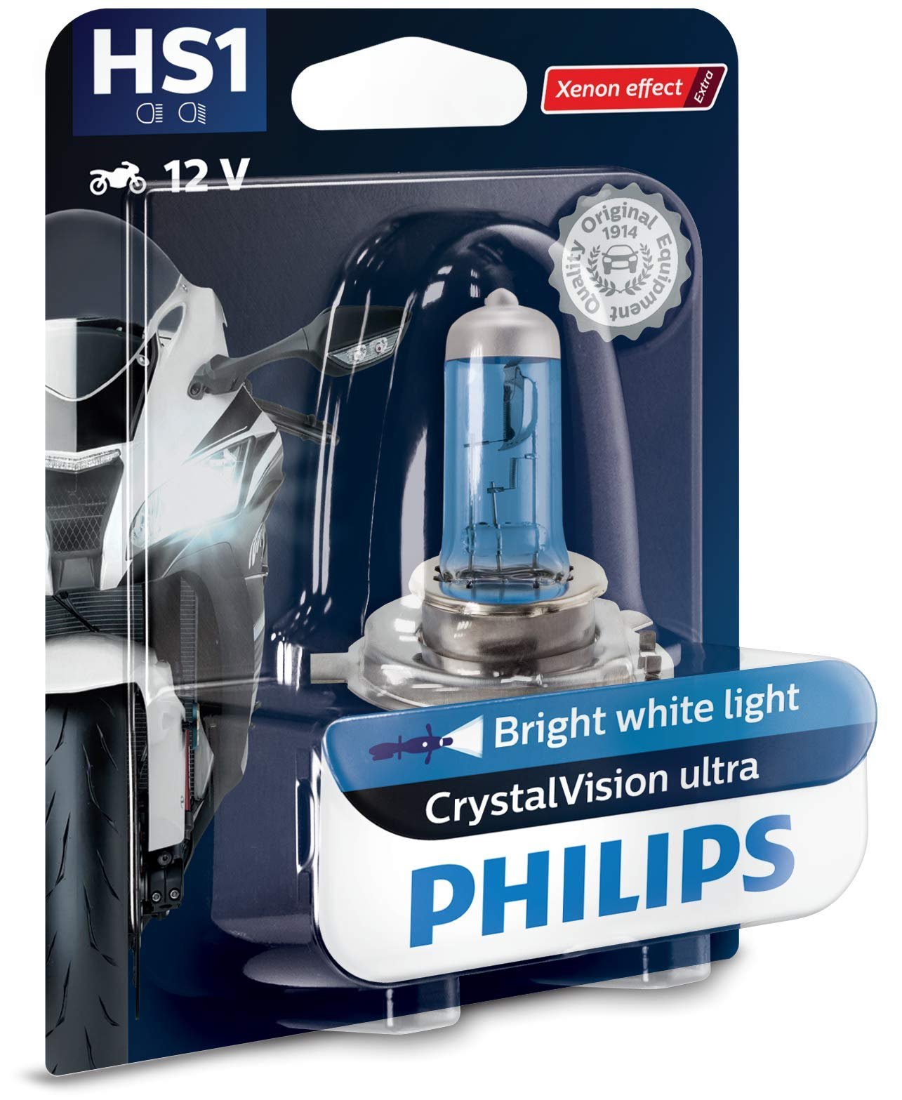 Philips 12636BVBW CrystalVision ultra Moto HS1 Motorrad-Scheinwerferlampe, 1 Stück von Philips automotive lighting
