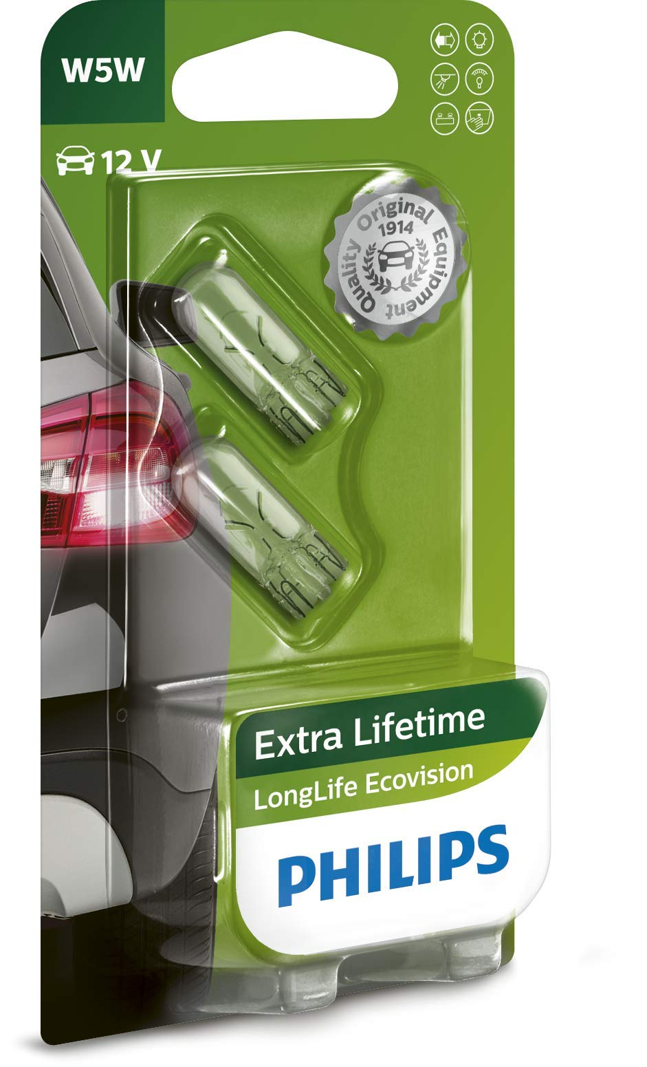 Philips 12961LLECOB2 LongLife EcoVision W5W Signallampe 12961LLECOB2, 2er Blister von Philips automotive lighting