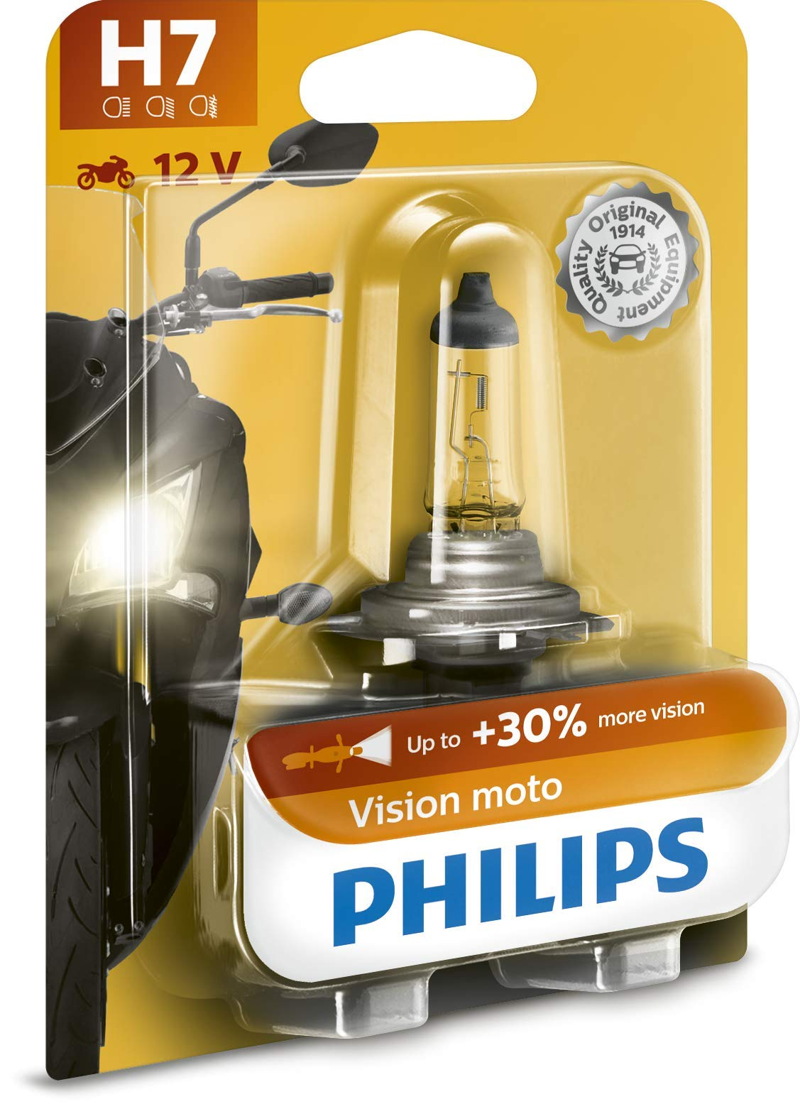 Philips 12972PRBW Vision Moto H7 Motorrad-Scheinwerferlampe, 1er Blister von Philips automotive lighting