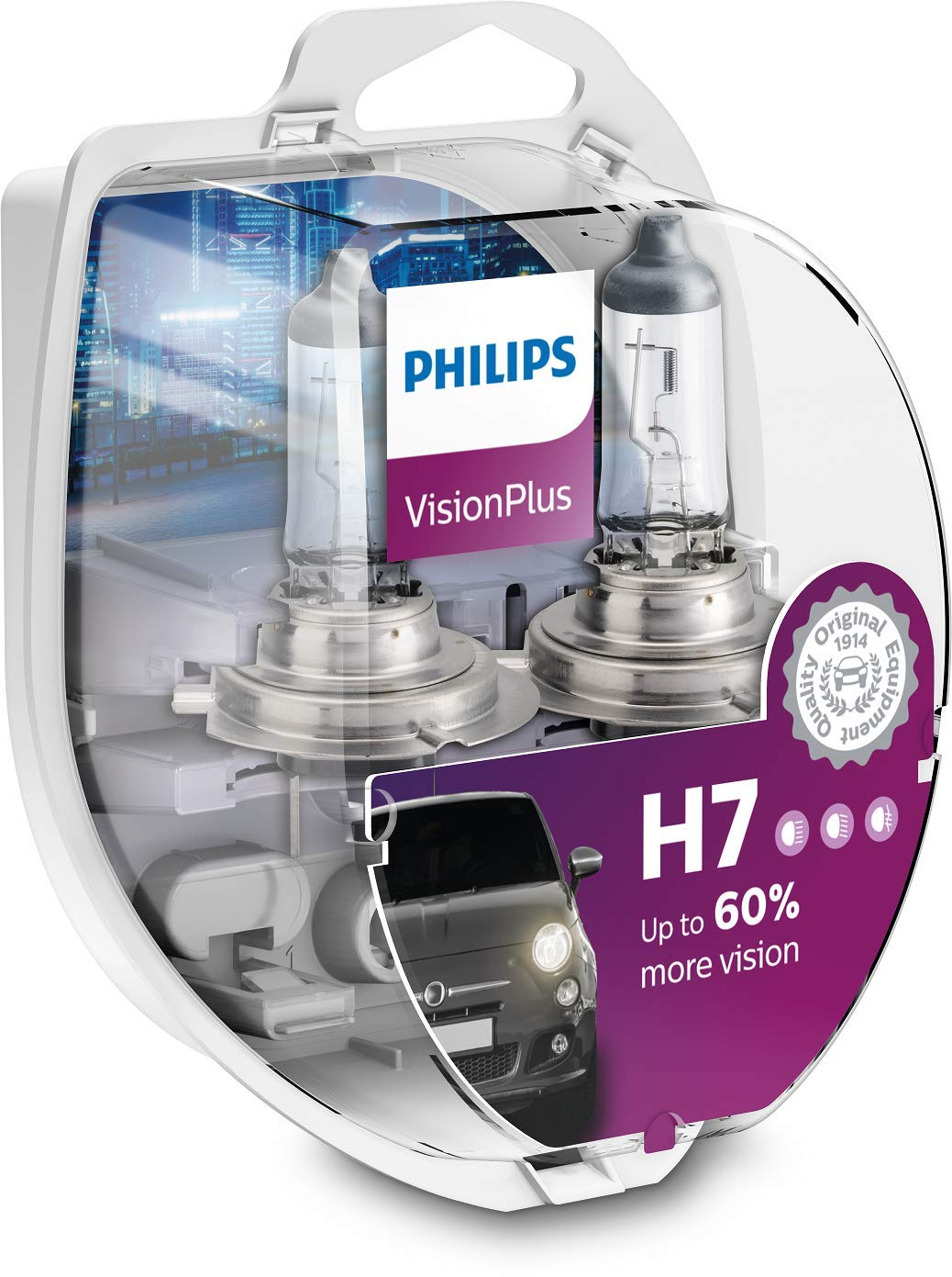 Philips 12972VPS2 VisionPlus +60% H7 Scheinwerferlampe 12972VPS2, 2er Kit von Philips automotive lighting