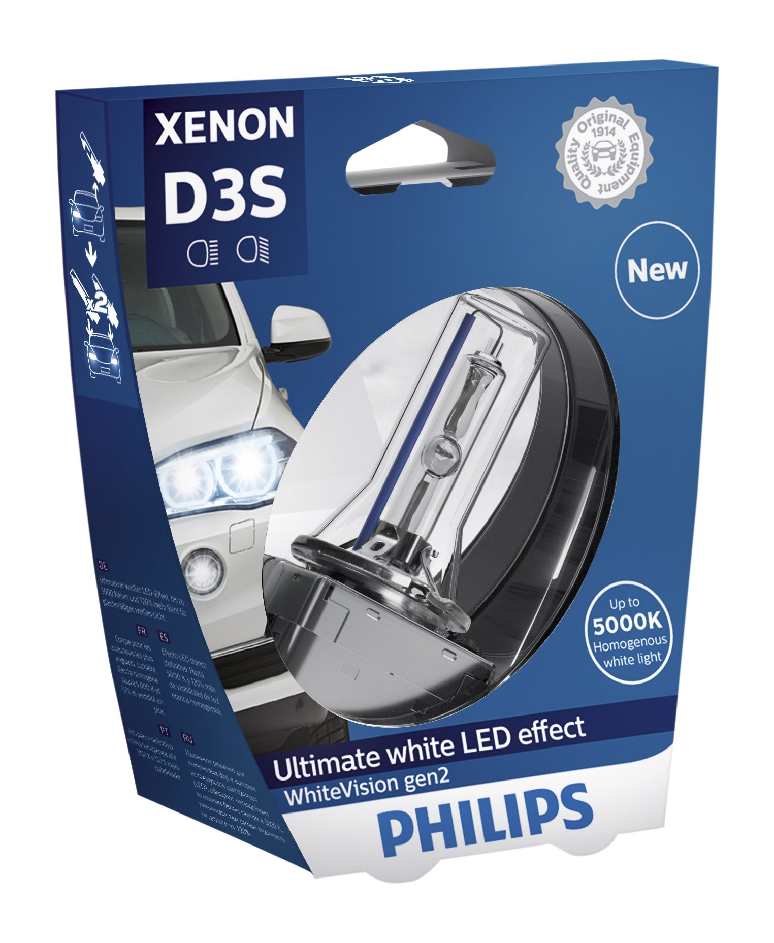 Philips 42403WHV2S1 Xenon-Scheinwerferlampe WhiteVision D3S Gen2, Einzelblister von Philips automotive lighting