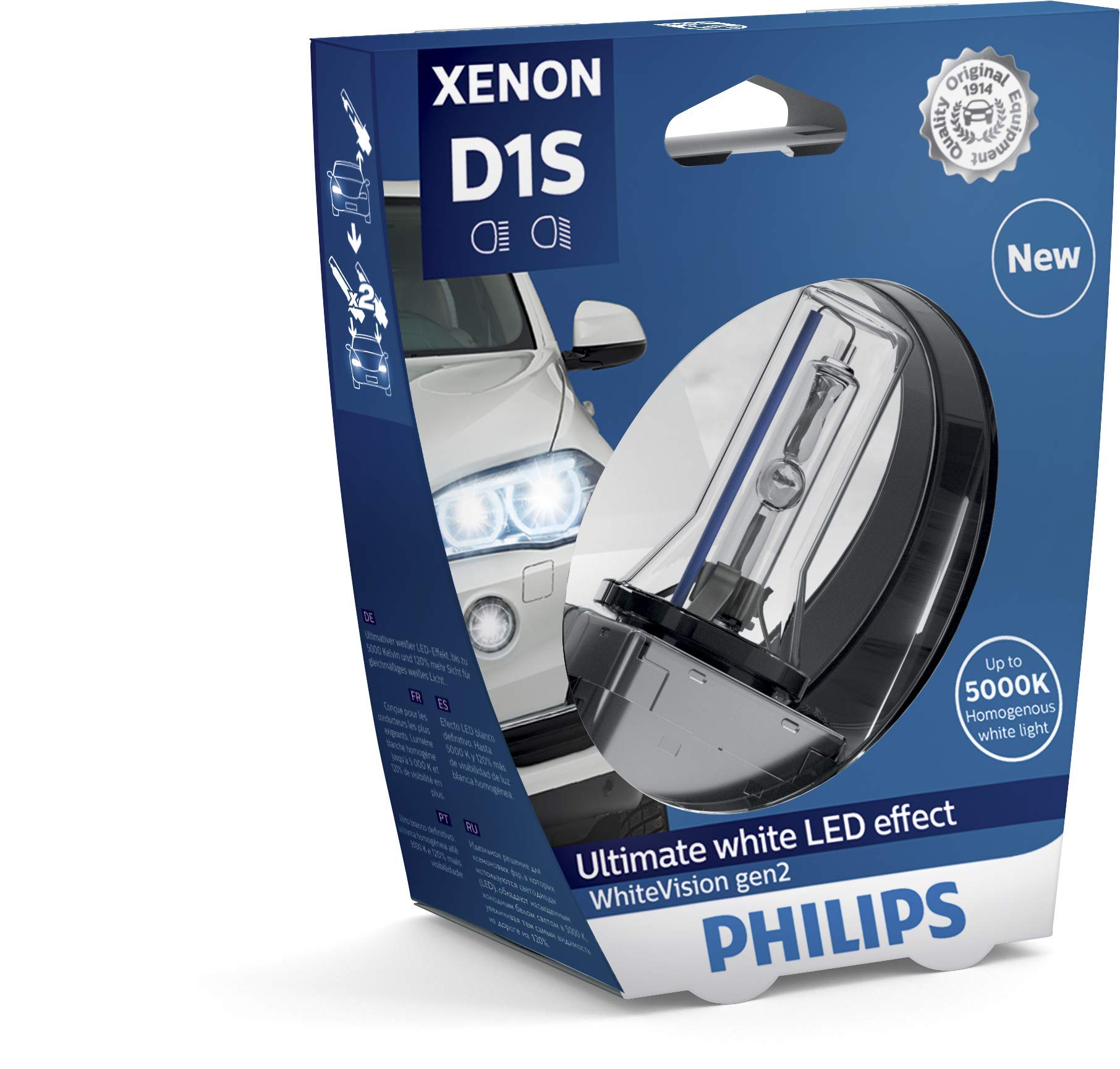 Philips 85415WHV2S1 Xenon-Scheinwerferlampe WhiteVision D1S Gen2, Einzelblister von Philips automotive lighting