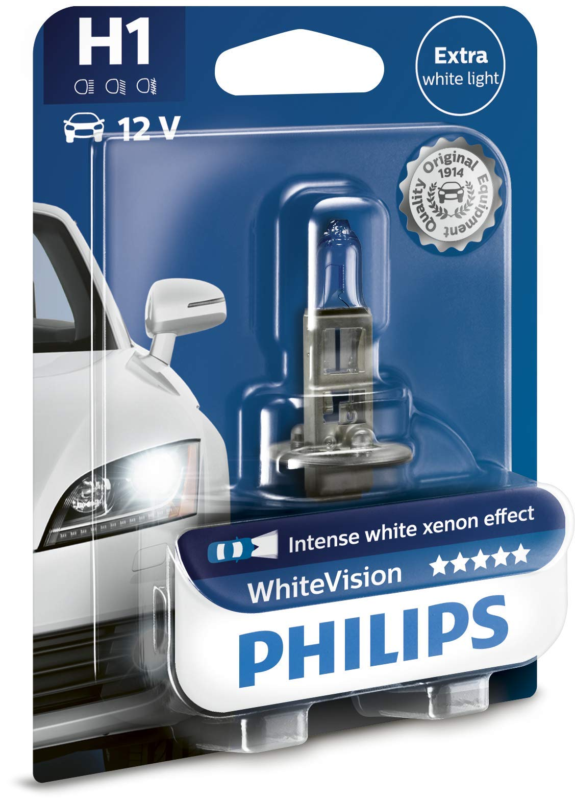 Philips WhiteVision Xenon-Effekt H1 Scheinwerferlampe 12258WHVB1, Einzelblister von Philips automotive lighting