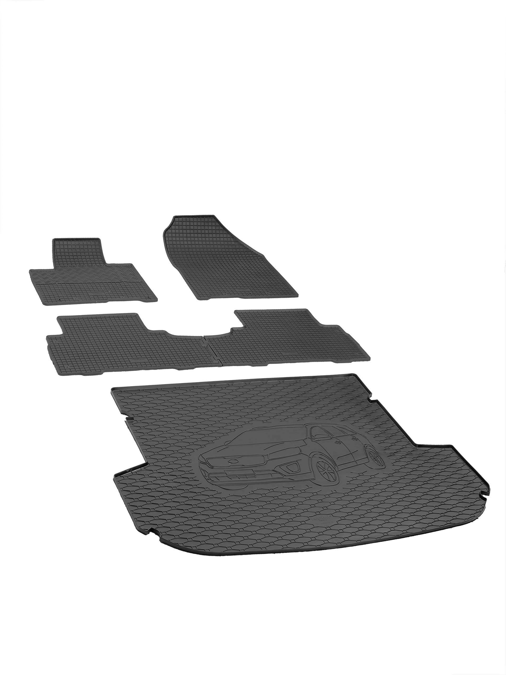Gummimatten für Dacia Dokker ab 2013 Reifen-Design Fußmatten Gummi Automatten