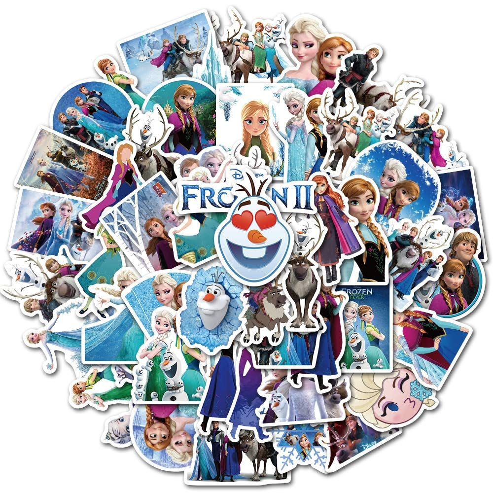 TUHAO Stickers Princess ELSA Graffiti Frozen Sticker for Kids On Laptop Skateboard Suitcase Bike 50 Pcs von TUHAO