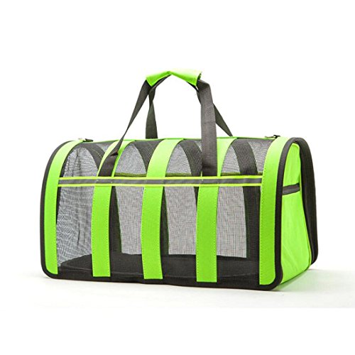 WYXIN Cat Dog Carrier Airline Approved Haustier Reisen Soft Sided Tote Schultertaschen mit atmungsaktiven Mesh-Matten , Green , M von WYXIN