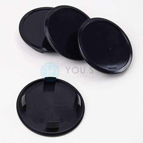 schwarz 4 x YOU.S ORIGINAL Nabenkappen Nabendeckel Felgendeckel 74,5-71,5 mm