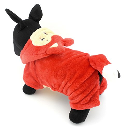 zunea Pet Apparel klein Hund Katze Kleidung Winter Fleece Little Fox Halloween-Kostüm Party Kleidung Rot von Zunea