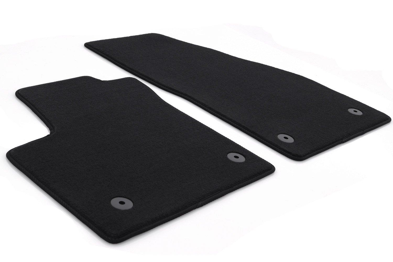 Wei/ße Ziernaht kh Teile Fu/ßmatten Caddy 2K Original Qualit/ät Automatten 2-teilig Velours schwarz